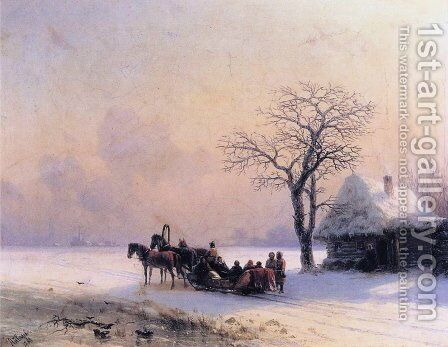 Winter Scene in Little Russia by Ivan Konstantinovich Aivazovsky - Reproduction Oil Painting