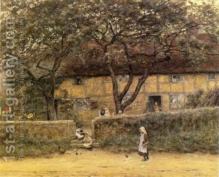 Children Outside a Cottage Date unknown by Helen Mary Elizabeth Allingham, R.W.S. - Reproduction Oil Painting
