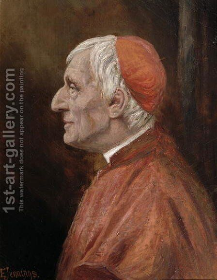 Portrait of Cardinal Newman by H.W. Jennings-Brown - Reproduction Oil Painting