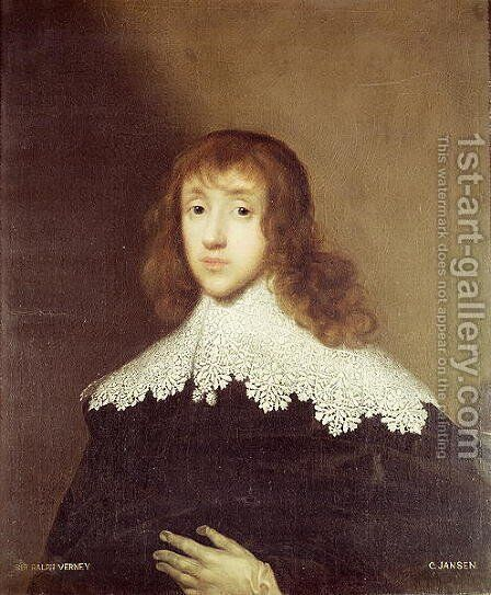Portrait of Sir Ralph Verney by Cornelis I Johnson - Reproduction Oil Painting
