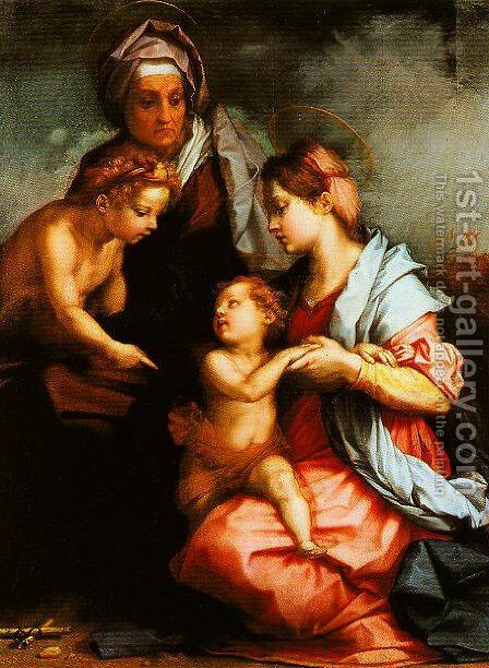 Madonna and Child with SS Elizabeth and the Young John (The Medici Holy Family) by Andrea Del Sarto - Reproduction Oil Painting