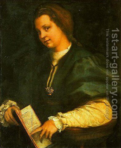 Portrait of a Girl (Lady with a Book of Petrarch) by Andrea Del Sarto - Reproduction Oil Painting