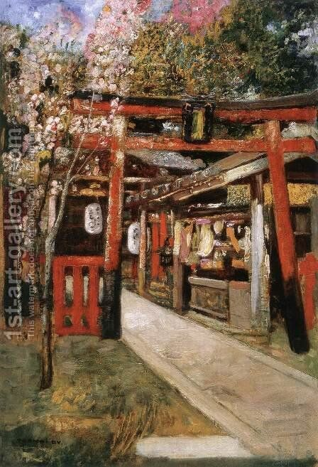 Entrance of a Church in Kyoto by Gyula Tornai - Reproduction Oil Painting
