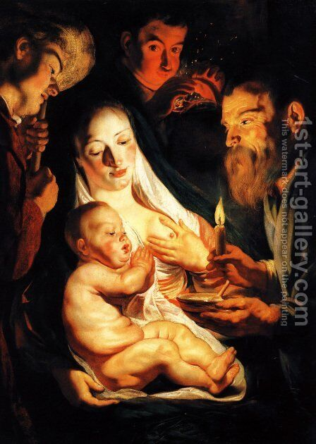 The Holy Family with Shepherds 1616 by Jacob Jordaens - Reproduction Oil Painting