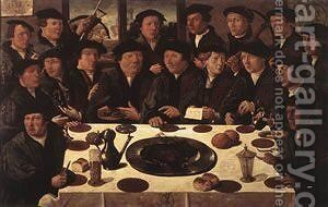 Banquet Of Members Of Amsterdams Crossbow Civic Guard 1533 by Cornelis Anthonisz. - Reproduction Oil Painting