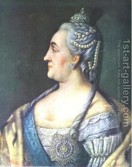 Portrait Of Catherine II The Great 1766 by Aleksei Antropov - Reproduction Oil Painting