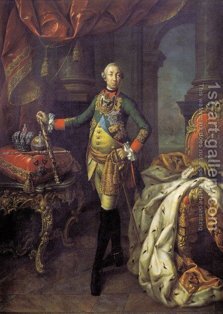 Portrait Of Emperor Peter III 1762 by Aleksei Antropov - Reproduction Oil Painting