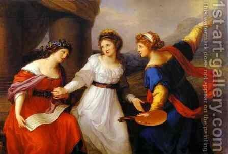 Self Portrait Hesitating Between The Arts Of Music And Painting 1791 by Angelica Kauffmann - Reproduction Oil Painting