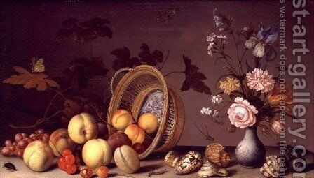 Apples cherries grapes plums and a vase of flowers by Edmond Jean Baptiste Tschaggeny - Reproduction Oil Painting