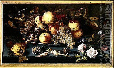 Still Life with Fruit Flowers and Seafood by Balthasar Van Der Ast - Reproduction Oil Painting