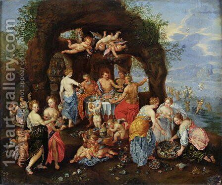 The Feast of the Gods by Jan van Kessel - Reproduction Oil Painting