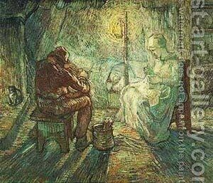 Evening The Watch (After Millet) 1889 by Vincent Van Gogh - Reproduction Oil Painting