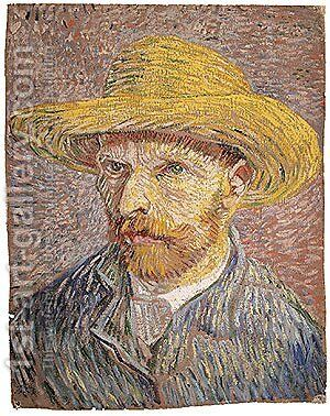 Self portrait with a Straw Hat (verso The Potato Peeler) probably 1887 by Vincent Van Gogh - Reproduction Oil Painting