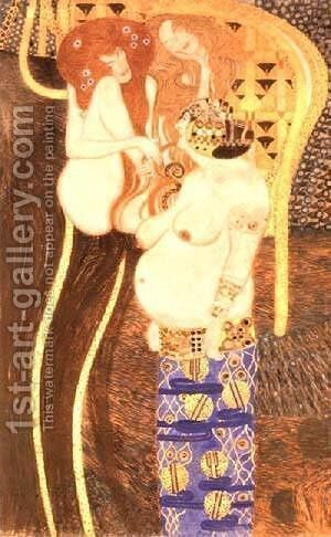 Hostile Forces Detail from the Bethoven Frieze 1902 by Gustav Klimt - Reproduction Oil Painting