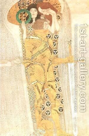 Yearning for Happiness Detail from Bethoven Frieze 1905 by Gustav Klimt - Reproduction Oil Painting