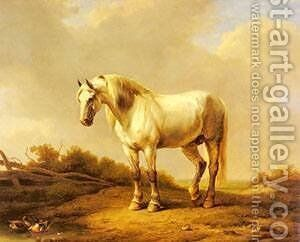 A White Stallion In A Landscape by Eduard Veith - Reproduction Oil Painting