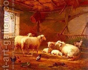 Sheep With Chickens And A Goat In a Barn by Eduard Veith - Reproduction Oil Painting