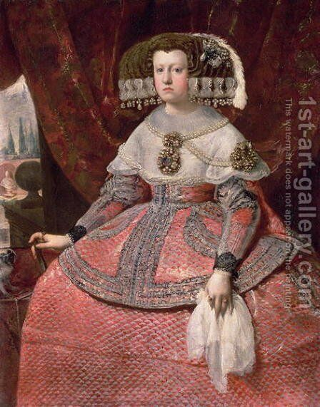 Queen Maria Anna of Spain in a red dress 1655 60 by Velazquez - Reproduction Oil Painting