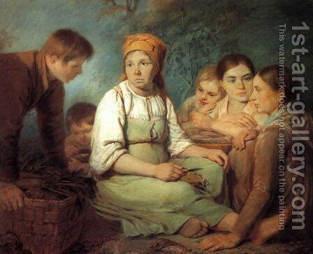 Cleaning Of The Beet 1820 by Aleksei Gavrilovich Venetsianov - Reproduction Oil Painting