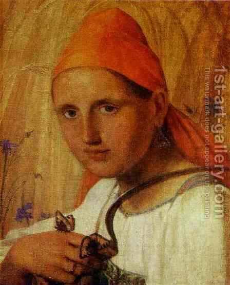 Peasant Girl With Butterflies by Aleksei Gavrilovich Venetsianov - Reproduction Oil Painting
