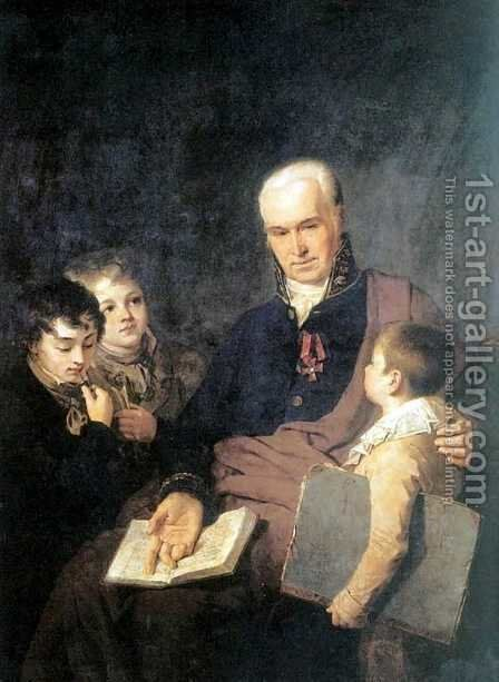 Portrait Of Ki Golovachevsky And The Younger Pupils Of The Academy 1811 by Aleksei Gavrilovich Venetsianov - Reproduction Oil Painting