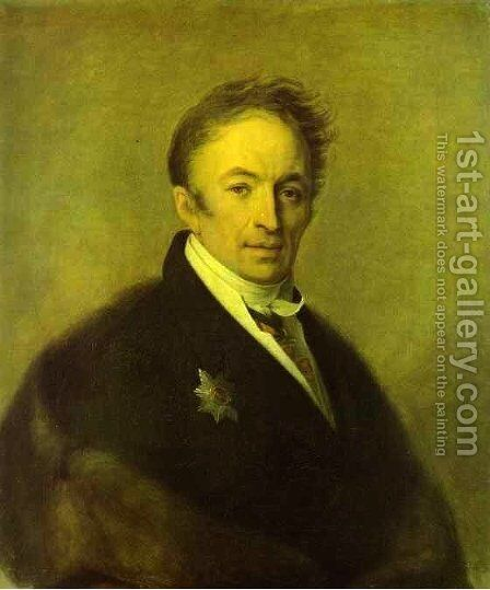 Portrait Of Nikolay Karamzin 1828 by Aleksei Gavrilovich Venetsianov - Reproduction Oil Painting