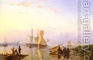 Shipping In A Calm Amsterdam by Barend Cornelis Koekkoek - Reproduction Oil Painting
