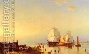 Three Mast Ships At Anchor by Barend Cornelis Koekkoek - Reproduction Oil Painting