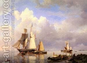 Vessels At Anchor In Estuary With Fisherman by Barend Cornelis Koekkoek - Reproduction Oil Painting
