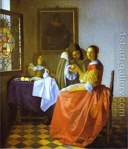Woman And Two Man 1659-1660 by Jan Vermeer Van Delft - Reproduction Oil Painting