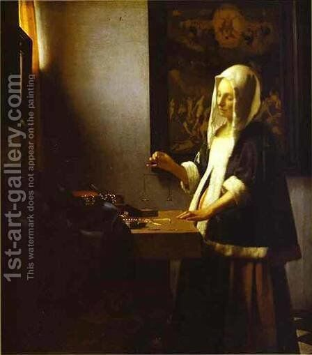 Woman Weighing Pearls 1662-1664 by Jan Vermeer Van Delft - Reproduction Oil Painting