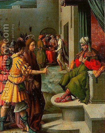 Christ before Caiaphas by (circle of) Ubertini, (Bacchiacca) - Reproduction Oil Painting