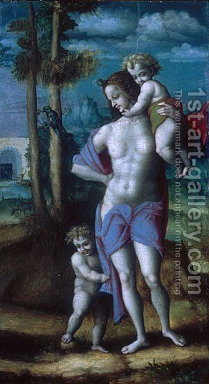 Eve with Cain and Abel fragment 1520s by (circle of) Ubertini, (Bacchiacca) - Reproduction Oil Painting