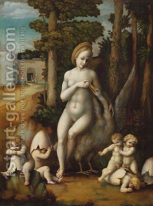 Leda and the Swan by (circle of) Ubertini, (Bacchiacca) - Reproduction Oil Painting