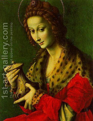 Mary Magdalen by (circle of) Ubertini, (Bacchiacca) - Reproduction Oil Painting