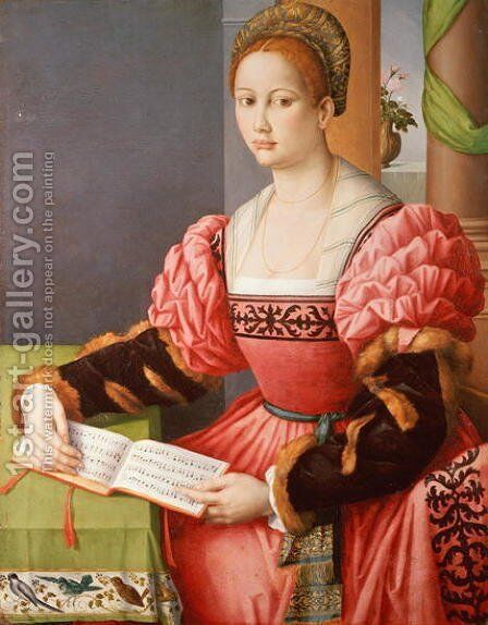 Portrait of a Lady by (circle of) Ubertini, (Bacchiacca) - Reproduction Oil Painting