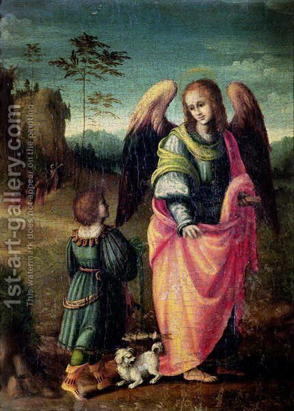 Tobias and the Angel by (circle of) Ubertini, (Bacchiacca) - Reproduction Oil Painting