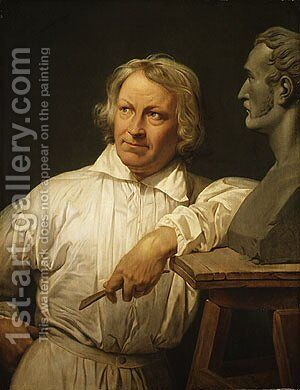 Bertel Thorvaldsen with the Bust of Horace Vernet by Claude-joseph Vernet - Reproduction Oil Painting