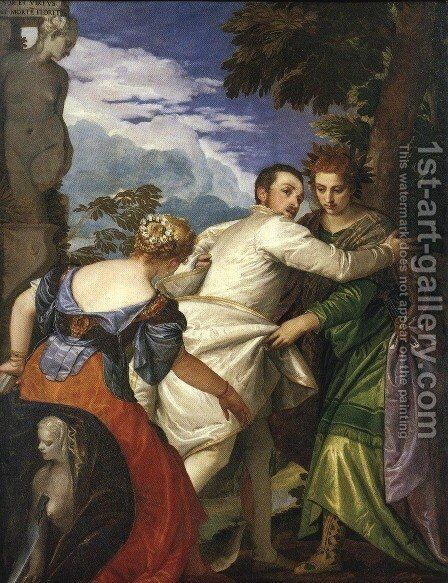 Allegory of Virtue and Vice 1580 by Paolo Veronese (Caliari) - Reproduction Oil Painting