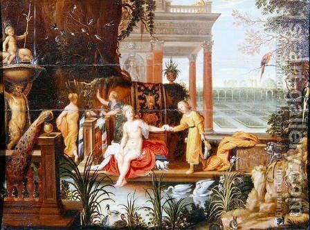 Bathsheba at the pool with her attendants by Hendrik van Balen, I - Reproduction Oil Painting