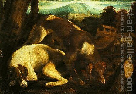 Two Dogs by Jacopo Bassano (Jacopo da Ponte) - Reproduction Oil Painting