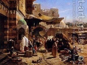 Market in Jaffa by Gustave Bauernfeind - Reproduction Oil Painting