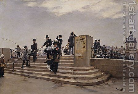 A Windy Day on the Pont des Arts by Jean Beauduin - Reproduction Oil Painting