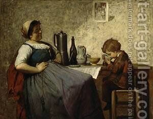 Maternal Happiness by Adolf von Becker - Reproduction Oil Painting