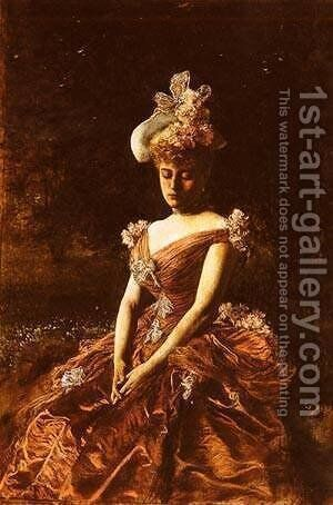 Portrait Of A Lady In A Pink Dress by Istvan Pekary - Reproduction Oil Painting