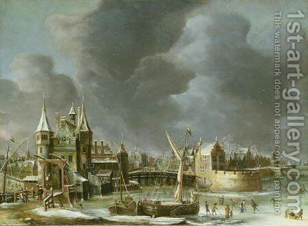 A View of the Regulierspoort Amsterdam in winter by Jan Abrahamsz. Beerstraten - Reproduction Oil Painting