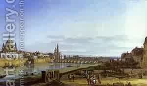 Dresden From The Right Bank Of The Elbe Above The Augustus Bridge 1750 by Bernardo Bellotto (Canaletto) - Reproduction Oil Painting