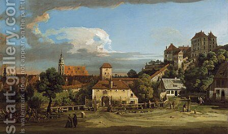 Pirna The Obertor from the South by Bernardo Bellotto (Canaletto) - Reproduction Oil Painting
