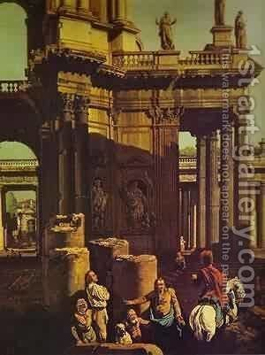 Ruins Of A Temple Detail by Bernardo Bellotto (Canaletto) - Reproduction Oil Painting