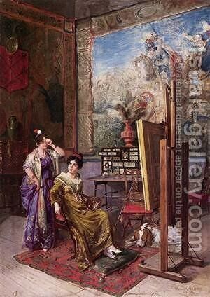 In The Artists Studio by Constant Benjamin Jean Joseph - Reproduction Oil Painting